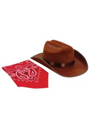Kit de Acessórios Cowboy Chapéu + Bandana BROWN JUNIOR COWBOY HAT AND BANDANA SET