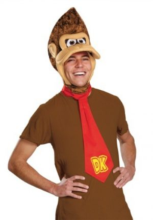 Kit de Acessórios Macaco Donkey Kong Adulto Peça de Cabeça +Gravata DONKEY KONG ADULT KIT