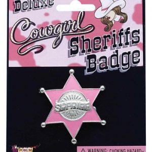 Acessório Emblema de Xerife Rosa PINK SHERIFF BADGE