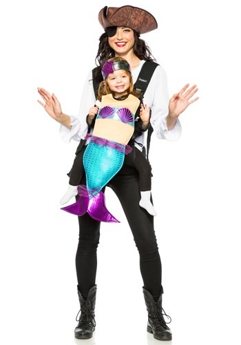 Fantasia Adulto Pirata e Sereia Infantil ADULT PIRATE AND MERMAID TODDLER CARRIER COSTUME – STANDARD