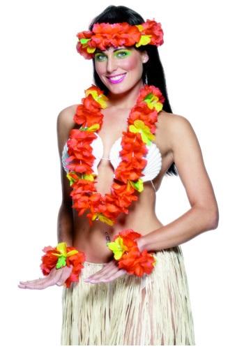 Kit de Acessórios Havaiano Peça de Cabeça + Leis + Punhos de Pulso HAWAIIAN ACCESSORY KIT