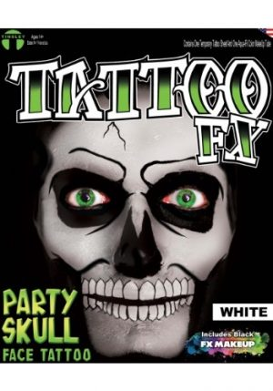 Kit de Maquiagem Caveira Branca WHITE PARTY SKULL TATTOO KIT