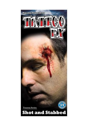 Kit de Maquiagem Tiro e Esfaqueamento SHOT AND STABBED TEMPORARY TATTOO KIT
