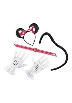 Kit de Acessórios Minnie Mouse Orelhas de Personagem + Gargantilha c / Personagem Cameo + Luvas  + Rabo RED MINNIE MOUSE KIT