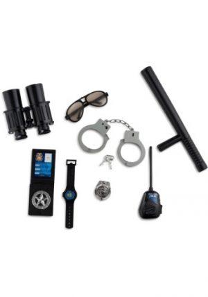 Kit de Acessórios Oficial Policia Algemas com chaves + Carteira Walkie talkie + Oculos escuros + Crachá + Binóculos DEPUTY POLICE OFFICER PLAY KIT Bastão