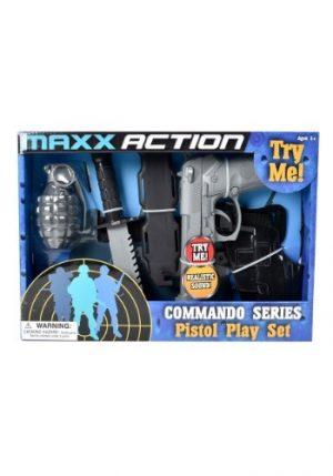 Kit de Acessórios Comando Arma de brinquedo + Coldre Faca de brinquedo + Bainha + Granada de brinquedo MAXX ACTION COMMANDO SERIES TOY PISTOL PLAYSET