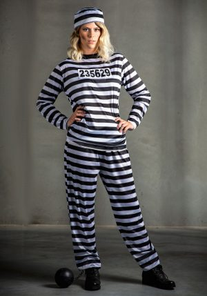 FANTASIA ADULTO PRISIONEIRA WOMEN'S STRIPED PRISONER COSTUME