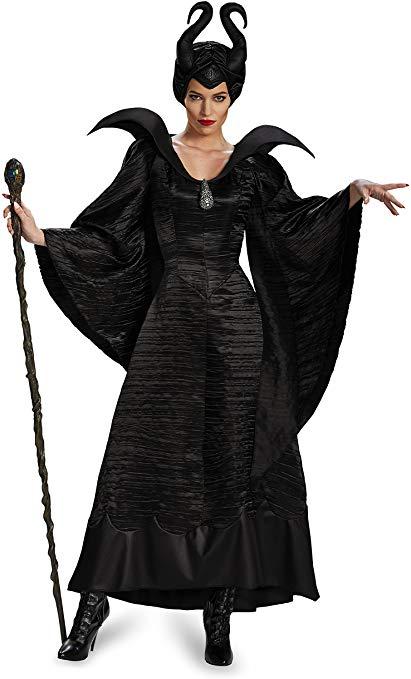 Fantasia Adulto Malévola Luxo Women's Disney Maleficent Black Christening Gown Costume