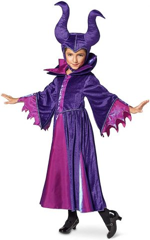 Fantasia Malévola Infantil Elite Luxo Disney Maleficent Costume for Kids Sleeping Beauty Purple