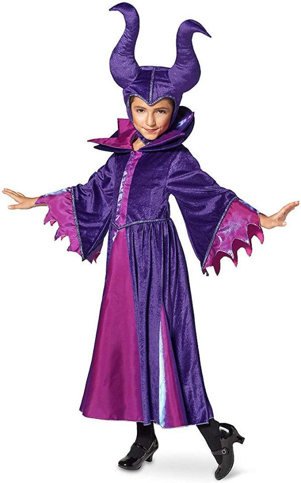 Fantasia Malévola Infantil Elite Luxo Disney Maleficent Costume for Kids Sleeping Beauty Purple