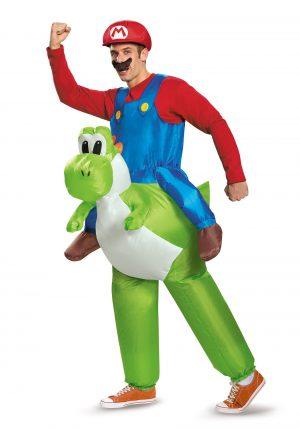 Fantasia de Mario Bross e Yoshi para adultos -Mario Riding Yoshi Adult Costume