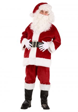 Fantasia Papai Noel- Deluxe Red Santa Claus Costume for Adults