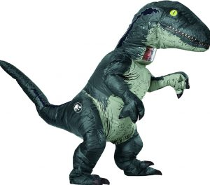 Fantasia Inflável adulto oficial do Jurassic World de Rubie- Velociraptor Com SOM