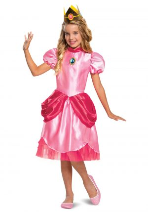 Fantasia Super Mario Princesa Pêssego – Super Mario Classic Princess Peach Costume for Girls