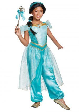 Fantasia de Jasmim Aladdin -Aladdin Animated Deluxe Jasmine Costume for Girls