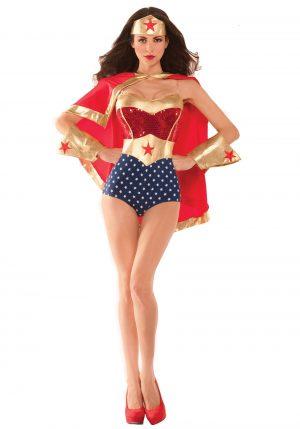 Fantasia feminina de Mulher Maravilha com Capa – Women's Wonderful Babe Costume