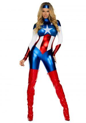 Fantasia Feminina Capitã América -Women's American Beauty Superhero Costume