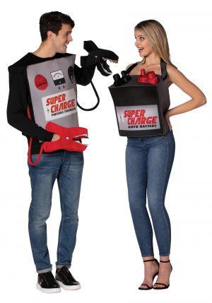 Fantasia de Casal bateria com Cabos de Jumpers – Adult Battery & Jumper Cables Couple's Costume