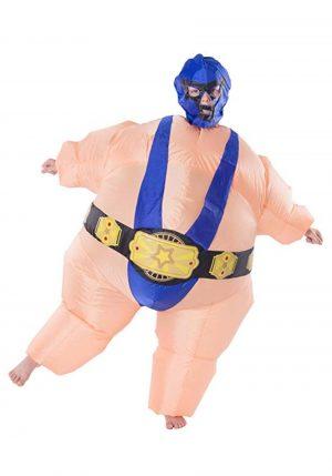 Fantasia de lutador de Sumô inflável para uma criança – Inflatable Blue Wrestler Costume for a Child