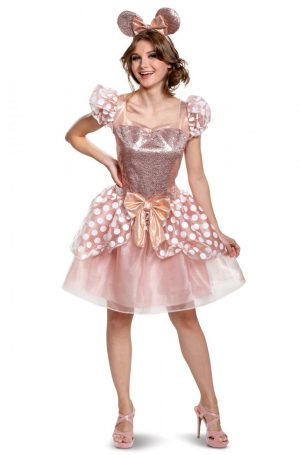 Fantasia  Adulto Deluxe Minnie Rose Gold – Rose Gold Minnie Deluxe Adult Costume