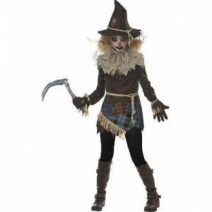 Fantasia de Espantalho Assustador para Meninas – Girls Creepy Scarecrow Costume