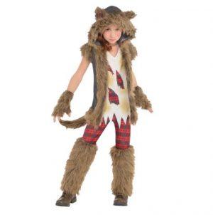 Fantasia de Lobisomem Marrom – Girls Brown Werewolf Costume