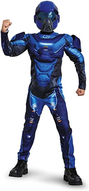 Fantasia de músculo espartano azul para meninos-Boys Blue Spartan Muscle Costume Halo