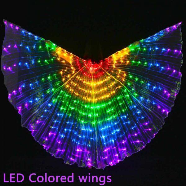 Asas de LED Isis com luz brilhante, fantasia de dança do ventre com varinhas