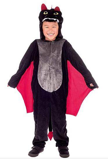 Fantasia infantil de dragão com capuz preto e macacão –  Children's dragon costume with black hood and overalls