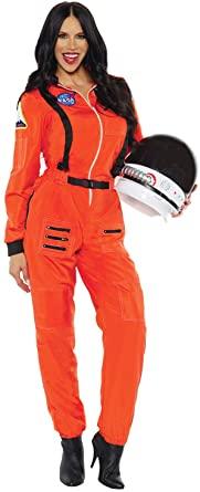 Fantasia de astronauta adulta feminina (laranja) – Adult Female Astronaut Costume (Orange)