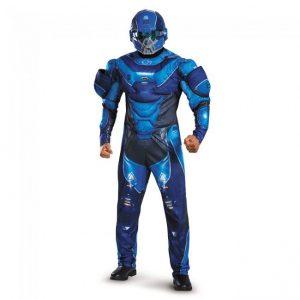 Fantasia de homem adulto azul espartano musculoso – Adult Blue Spartan Muscle Men Costume