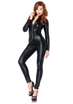 Fantasia de macacão sexy com zíper preto – Sexy Black Zipper Catsuit Costume