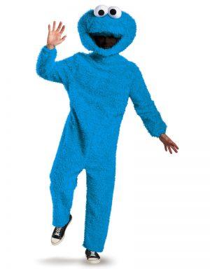 Fantasia de monstro de biscoito de pelúcia prestígio adulto – Adult Prestige Plush Cookie Monster Costume