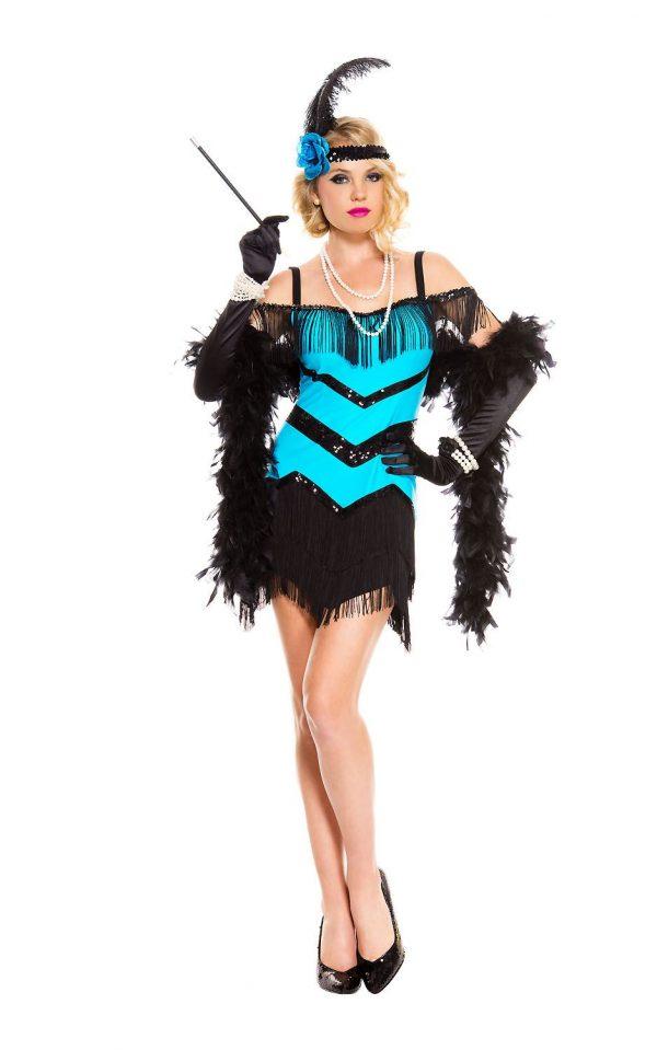 Fantasia de mulher melindrosa de socialite adulta dos anos 1920 – Adult Socialite 1920s Flapper Woman Costume