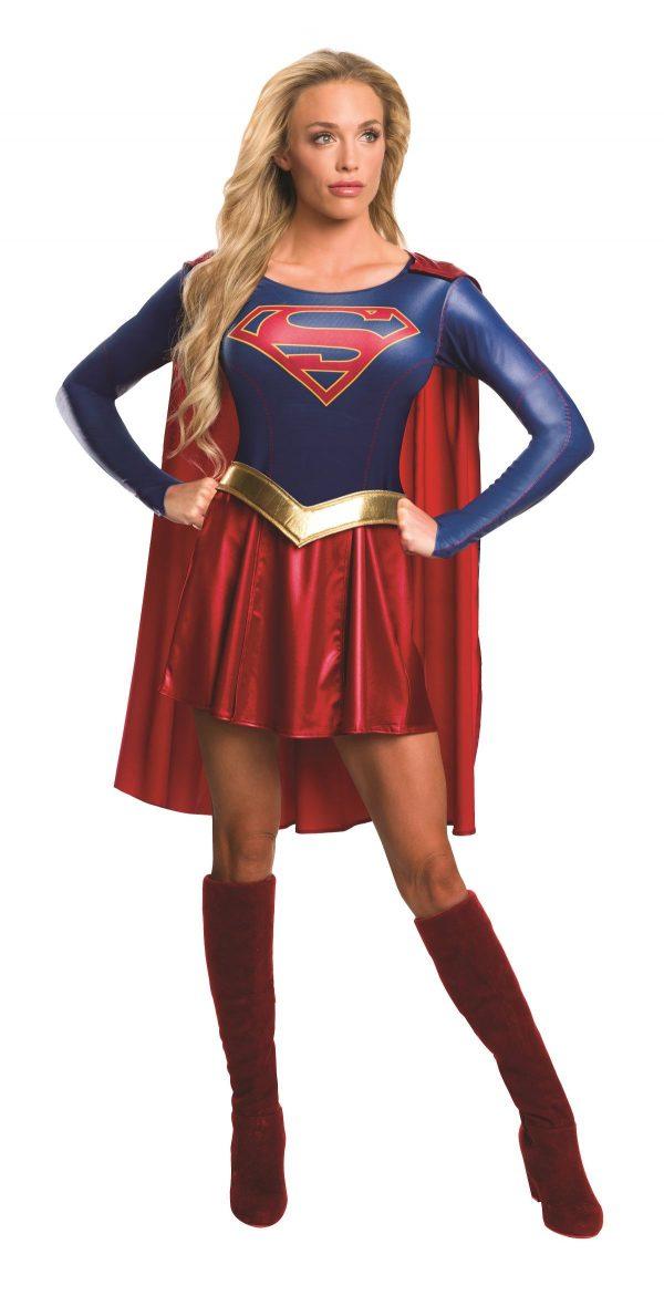 Fantasia de supergirl mulher adulta -Adult Supergirl Woman American Hero Costume