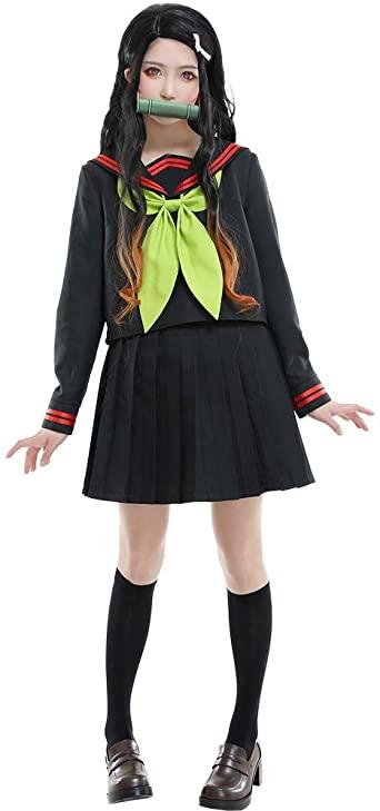 Fantasia de uniforme escolar feminino nezuko cosplay – Nezuko female school uniform costume cosplay