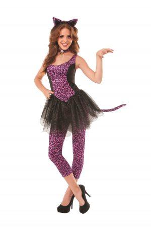 Fantasia feminina de gatinho leopardo roxo adulto – Adult Purple Leopard Kitty Women Costume