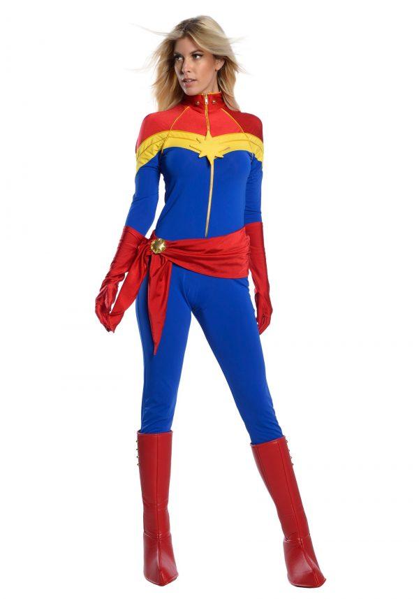 Fantasia feminino clássico Captain Marvel Premium – Women's Classic Captain Marvel Premium Cosplay Costume