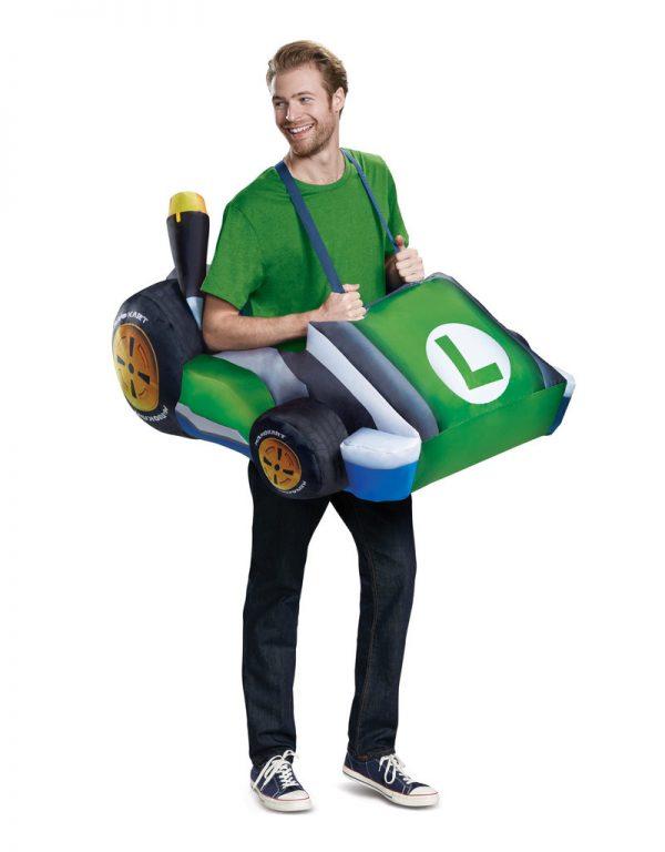 Fantasia inflável adulto Luigi Kart –  Adult Luigi Kart Inflatable Costume