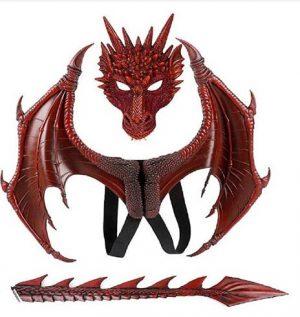 Fantasia de Dragão com Mascara, Asas e Cauda – Dragon Costume with Mask, Wings and Tail