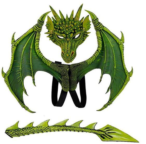 Fantasia de Dragão com asas e Mascara – Dragon costume with wings and mask