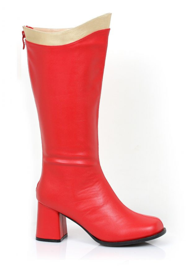 Botas super-heróis adultas vermelhas e douradas – Adult Red and Gold Super Hero Boots