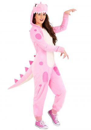 Fantasia Dinossauro rosa Onesie para mulheres – Pink Dinosaur Onesie for Women