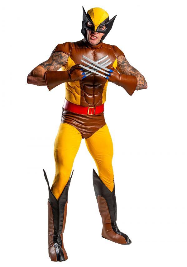Fantasia Wolverine X Men Luxo com Músculo Adulto Novo – X-Men Adult Wolverine Brown Costume