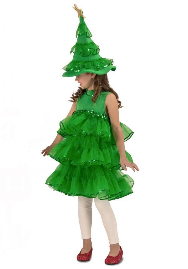 Fantasia de árvore de Natal com glitter para crianças / meninas – Toddler/Girls Glitter Christmas Tree Costume