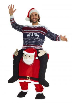 Fantasia de Papai Noel Sobreposto adulto -Santa Piggyback Adult Costume