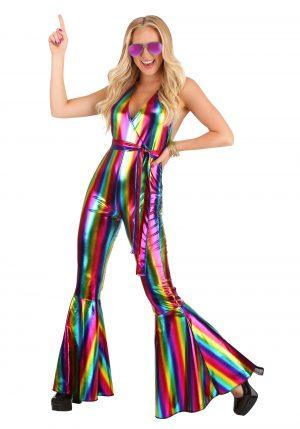Fantasia de disco ARCO IRIS  Rave para mulheres – Rainbow Rave Disco Costume for Women