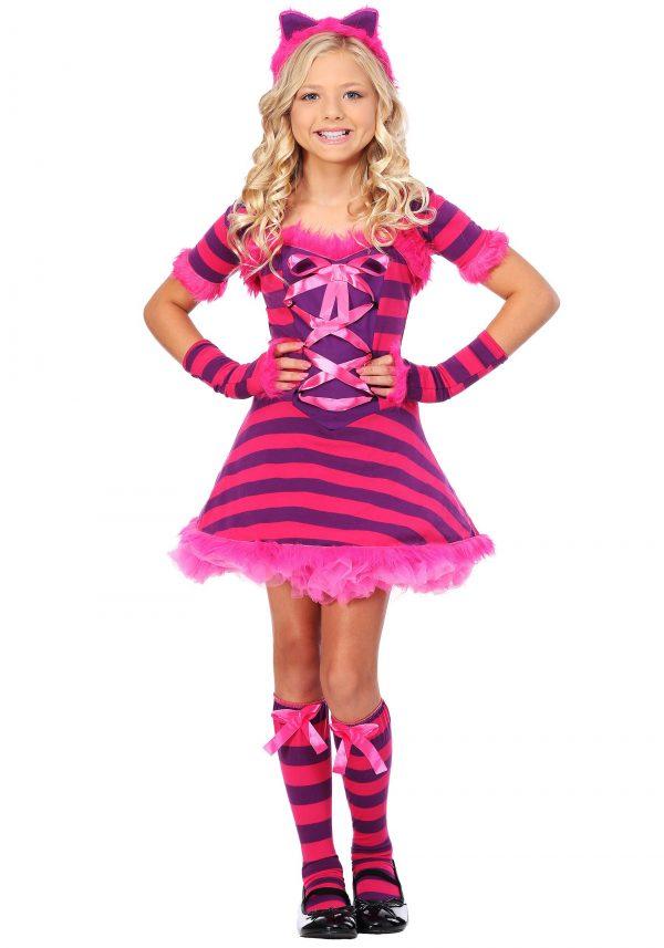 Fantasia de gato Cheshire infantil atrevido do país das maravilhas – Child Sassy Wonderland Cat Costume