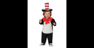 Fantasia de gato com capuz e chapéu Dr. Seuss -Baby Hooded Cat in the Hat One Piece Costume Dr. Seuss
