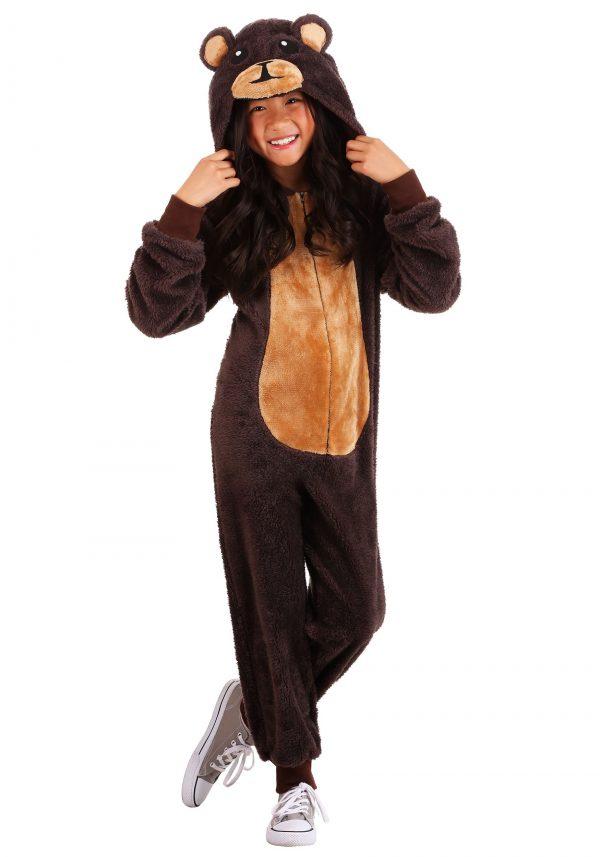 Fantasia de macacão infantil de urso marrom – Kids Brown Bear Jumpsuit Costume